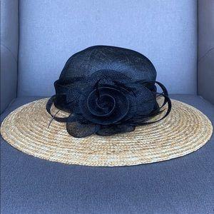 August Hat Sinamay Wheat Straw Wide Down Brim Hat